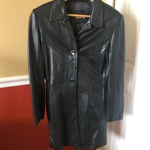Kasper leather black long jacket size small